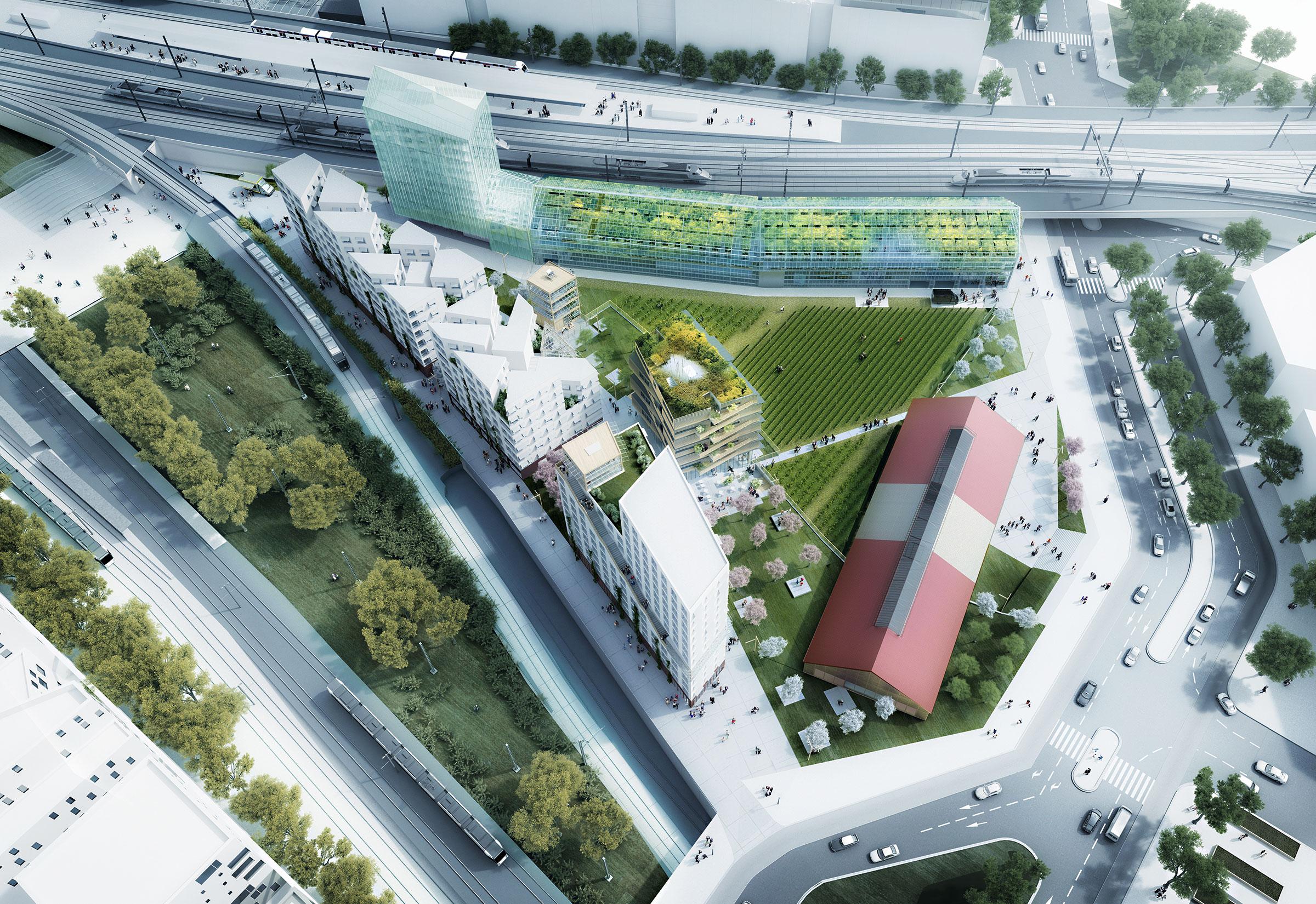 La Fabrique Agricole, projet emblématique porté par SOA Arhitectes pour le concours Réinventer Paris (non lauréat). La serre urbaine accueil de la production, du commerce et des services sur plusieurs étages.